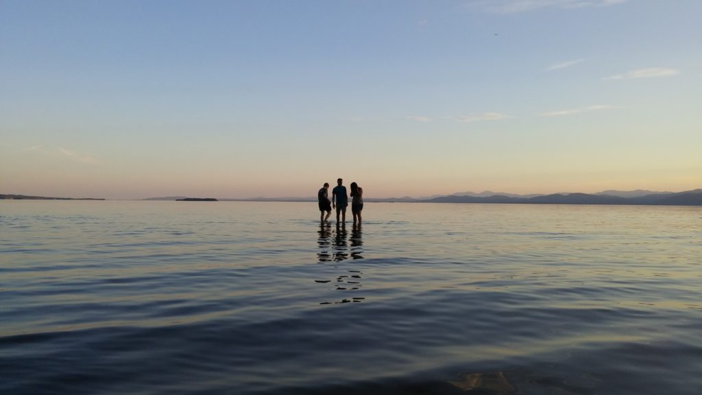 silhouettes standing in the water against a sunset