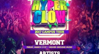 HyperglowU poster with details and audience in background
