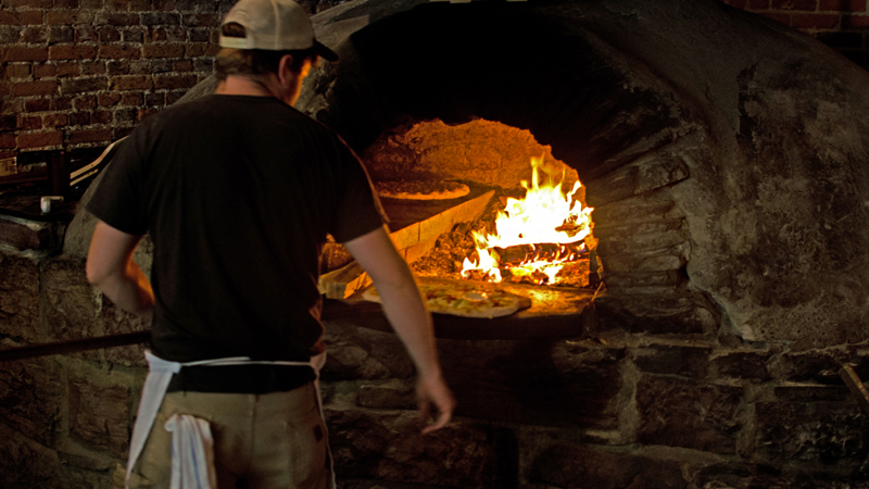 Wood Fire Pizza being cooked